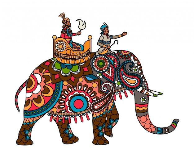 Marajá indiano no elefante colorido Vetor Premium