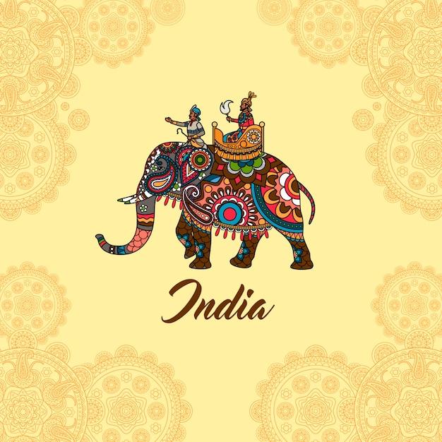 Marajá indiano no ornamento de mandala de elefante Vetor Premium
