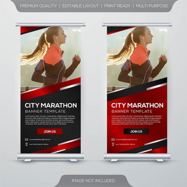 Marathon stand xbanner rollup modelo de design Vetor Premium