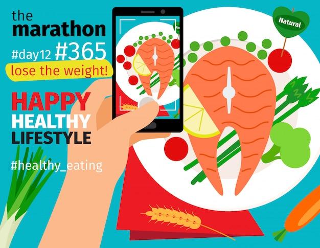 Maratona de perda de peso e dieta Vetor Premium