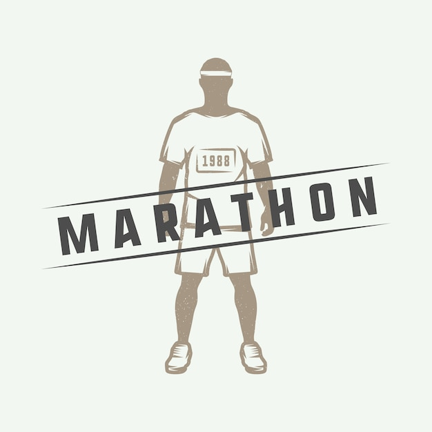 Maratona ou logotipo da corrida Vetor Premium