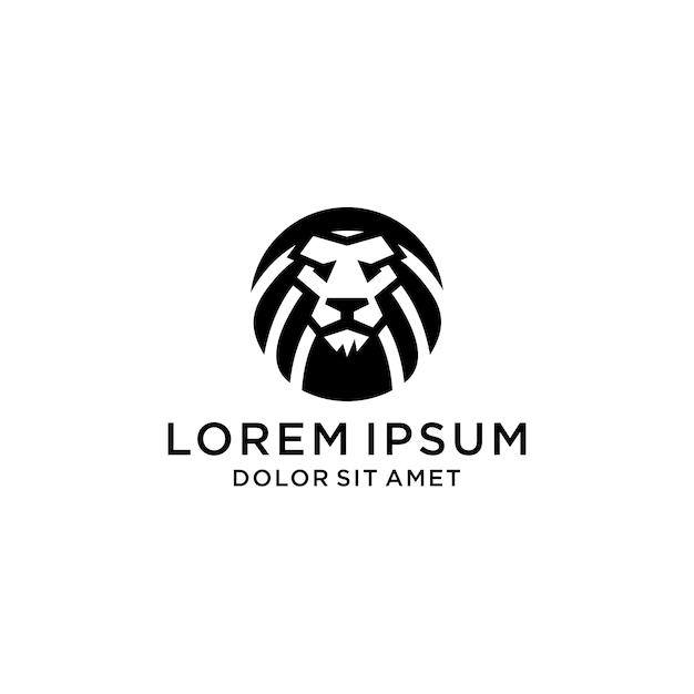 Marca de logotipo de ícone de cabeça de leão Vetor Premium