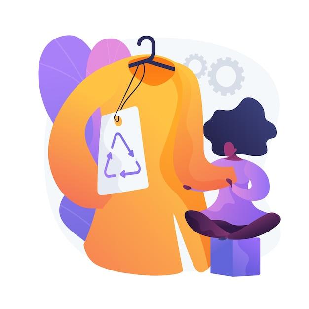 Marca de roupa amiga do ambiente. etiqueta de reciclagem, vestuário sem plástico, vestuário ecológico. moda feminina. mulher comprando roupas de materiais naturais. Vetor grátis