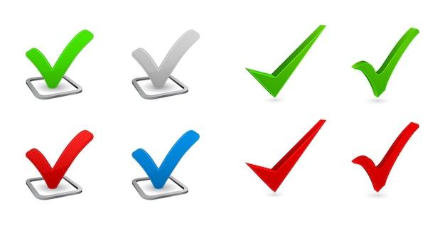 Marca de seleção conjunto de ícones 3d Vetor Premium