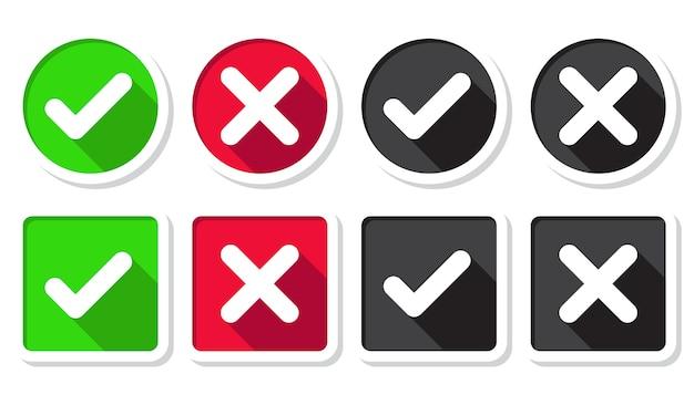 Marca de seleção green tick e cruz vermelha de aprovado e rejeitado. círculo símbolos botão sim e não para voto, decisão, web. Vetor Premium