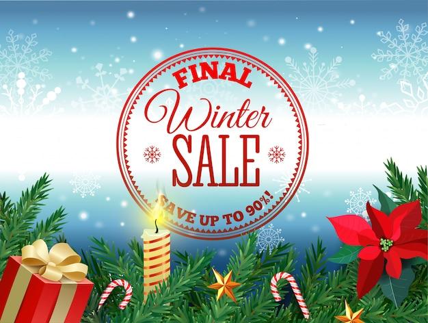Marca de venda de inverno. a etiqueta vermelha da venda que pendura na neve branca do inverno lasca-se fundo para a promoção de varejo sazonal. ilustração vetorial Vetor Premium