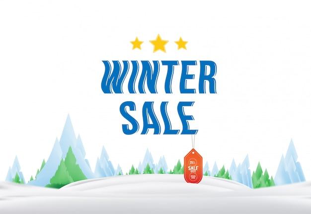 Marca de venda de inverno com etiqueta na natureza. elemento para feliz natal e feliz ano novo. Vetor Premium