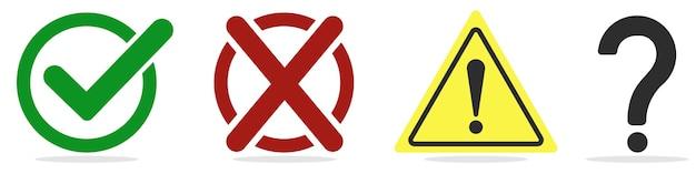 Marca de verificação, cruz, ponto de exclamação e pergunta em branco. Vetor Premium