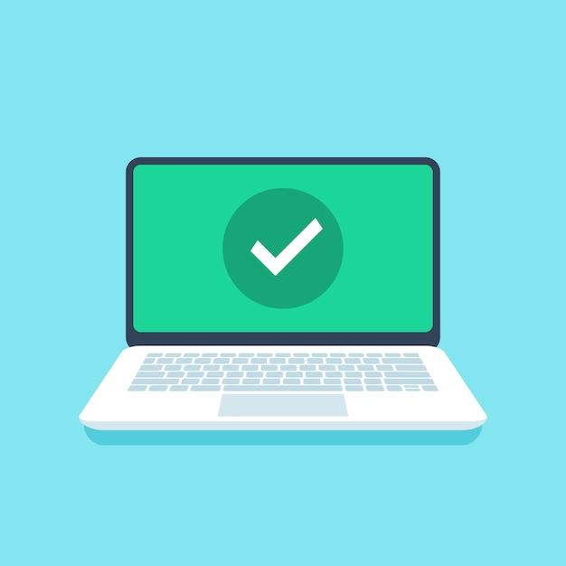 Marca de verificação na tela do laptop. Vetor Premium
