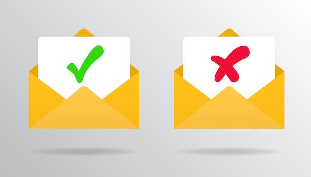Marca de verificação no e-mail de confirmação e rejeição por e-mail aprovado ou rejeitado. Vetor Premium