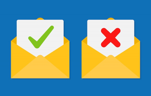 Marca de verificação no envelope de correio. email de confirmação e rejeição Vetor Premium