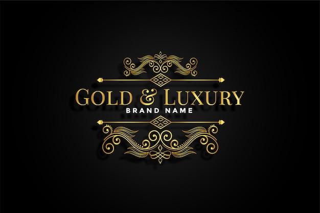 Marca floral ornamental dourada premium Vetor grátis