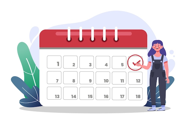 Marcação de consulta com calendário e mulher Vetor Premium