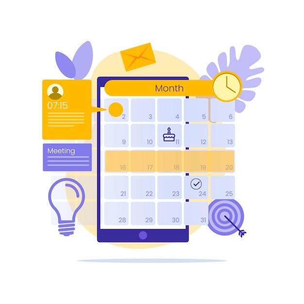 Marcação de consultas no celular com calendário Vetor grátis
