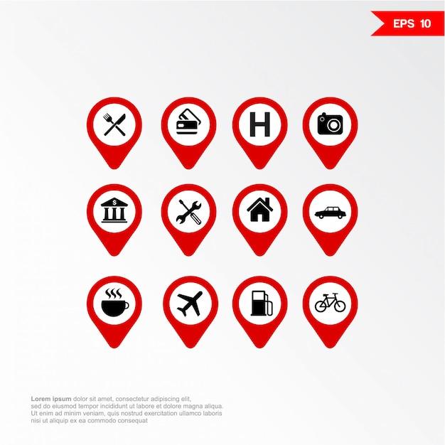 Marcador de aplicativo móvel de mapa com o conjunto de ícones. Vetor Premium