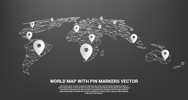 Marcador de pino com mapa-múndi de polígono Vetor Premium