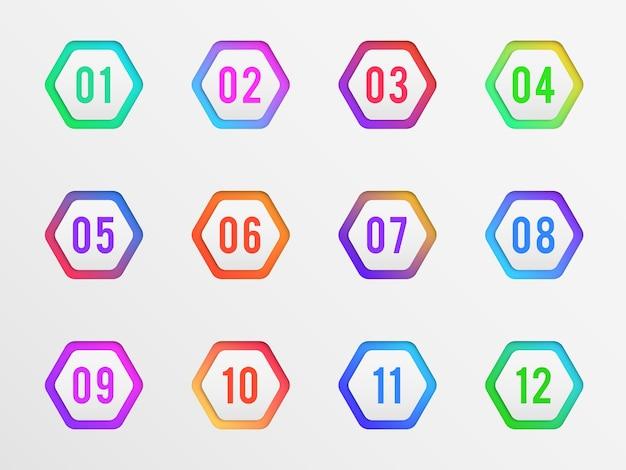 Marcadores com ilustração de números de rótulos coloridos Vetor Premium