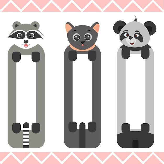 Marcadores de bebê com animais fofos Vetor Premium