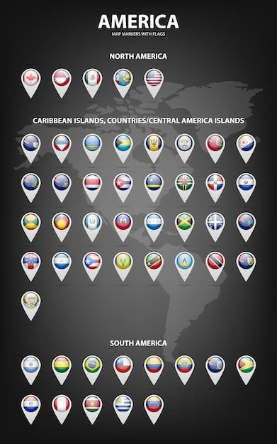 Marcadores de mapa branco com bandeiras - américa do norte e do sul, ilhas do caribe, países, ilhas da américa central. Vetor Premium