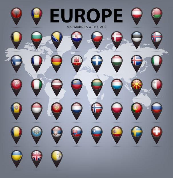 Marcadores de mapa com bandeiras - europa. cores originais. Vetor Premium