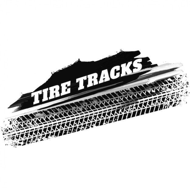 Marcas de impressão de faixa de pneu preto grunge fundo Vetor grátis