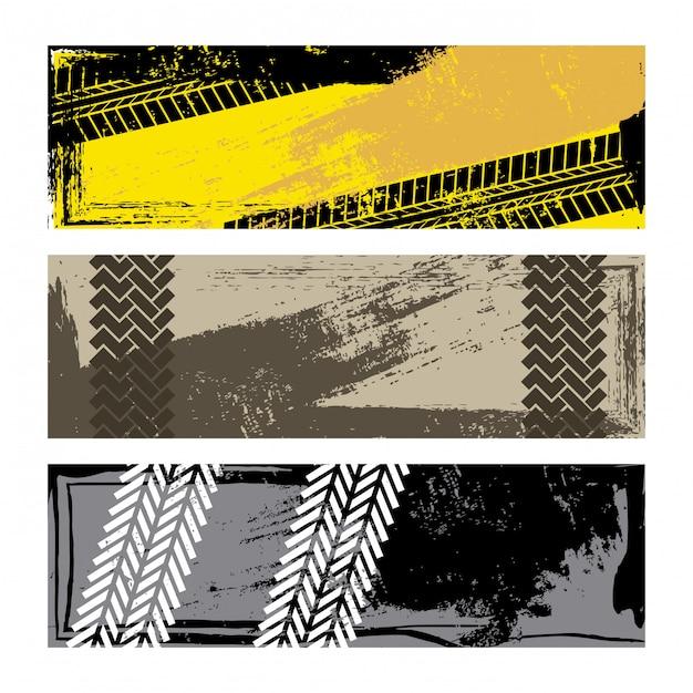 Marcas de pneu sobre ilustração vetorial de fundo branco Vetor Premium