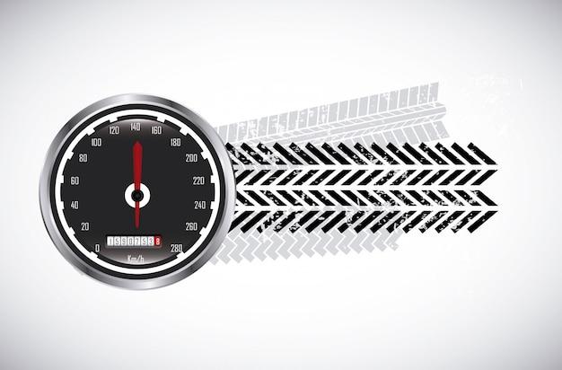 Marcas de pneus sobre ilustração vetorial de fundo bege Vetor Premium