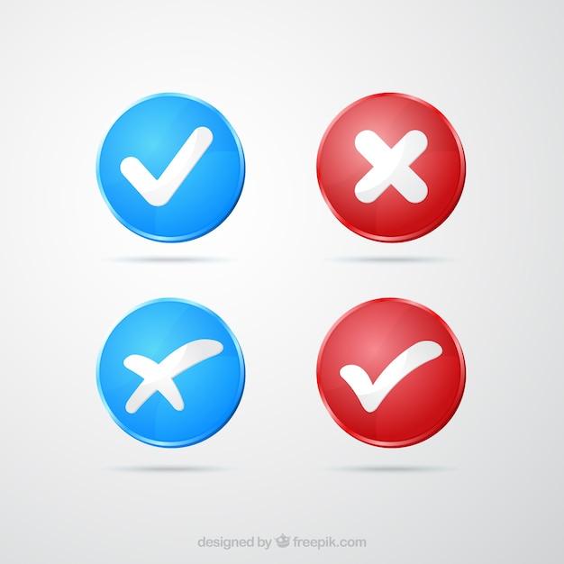 Marcas de verificação vermelhas e azuis Vetor Premium