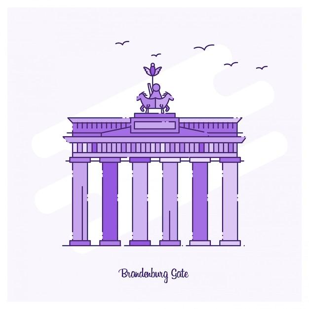 Marco de brandenburg landmark linha pontilhada roxo skyline Vetor grátis