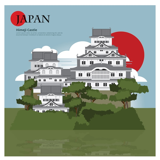 Marco de himeji castle japão e viagens de ilustração vetorial de atrações Vetor Premium