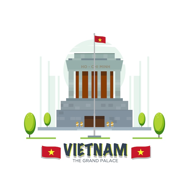 Marco do grande palácio de vietnam. Vetor Premium