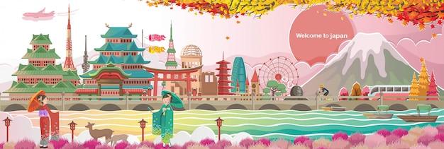 Marco do japão e paisagens. arquitetura ou construção. menina japonesa quimono vestindo vestido nacional. marco no outono Vetor Premium