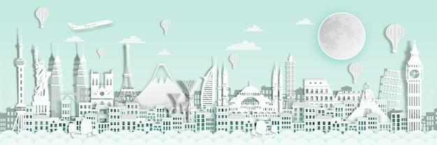 Marco do mundo para o cartaz de viagens. Vetor Premium