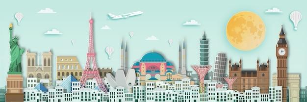 Marco do mundo para o poster de viagens, estilo da arte de papel. Vetor Premium