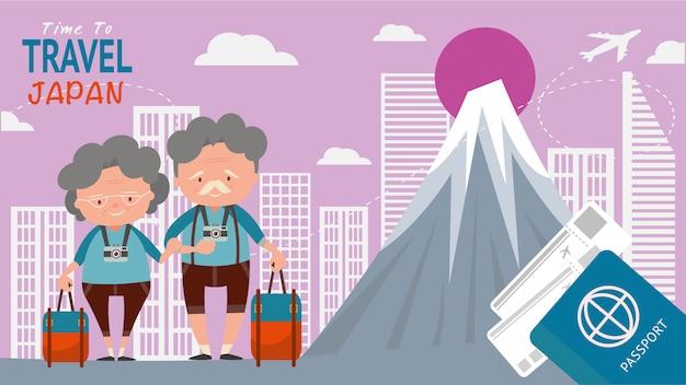 Marco famoso para vistas arquitetónicas do curso os turistas dos pares de idade viajam japão no tempo do mundo para viajar conceito. Vetor Premium