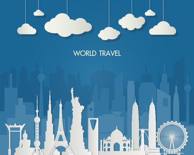 Marco mundialmente famoso. saco global de infographic do curso e da viagem. Vetor Premium