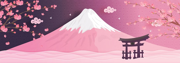 Marcos de montanha fuji do japão em estilo de corte de papel Vetor Premium