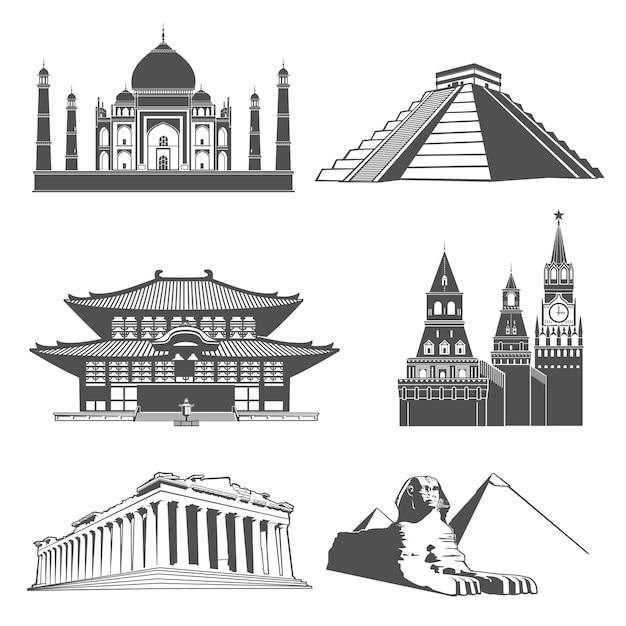 Marcos de silhueta de viagem com monumentos do mundo famoso conjunto de vetores Vetor Premium