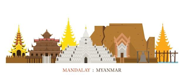 Marcos do horizonte de mandalay myanmar Vetor Premium