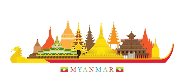 Marcos do horizonte de mianmar Vetor Premium