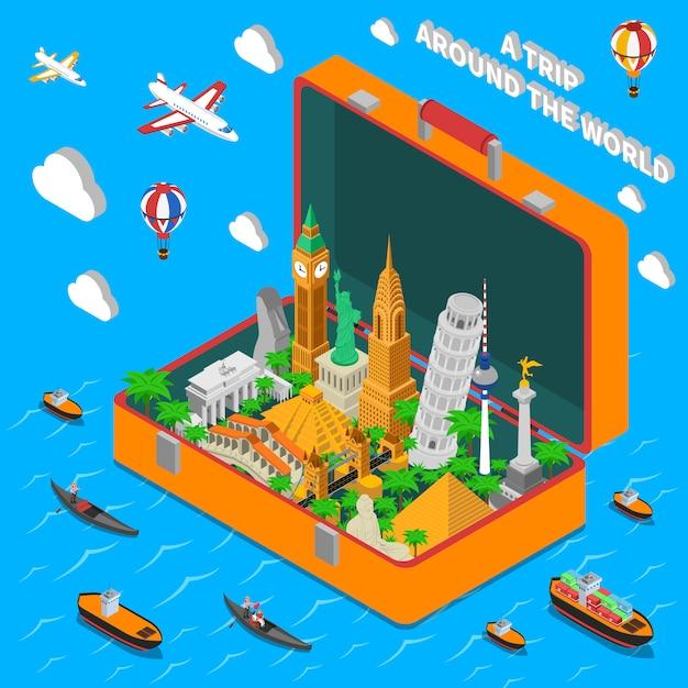 Marcos do mundo no cartaz isométrico da mala de viagem Vetor grátis
