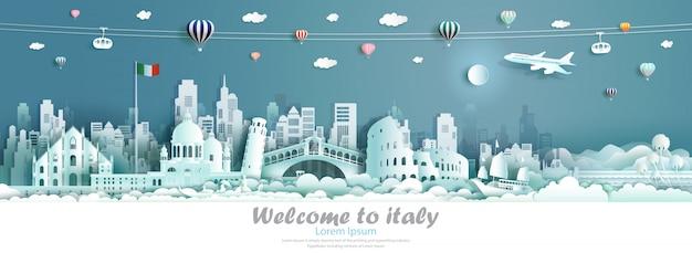 Marcos famosos da arquitetura de itália da excursão da ilustração do vetor de europa. Vetor Premium