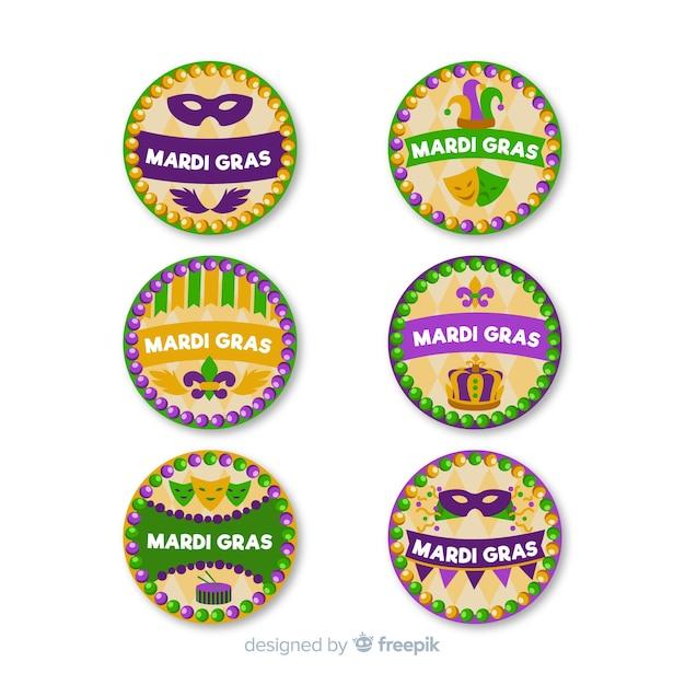 Mardi gras carnaval coleção de crachá Vetor grátis