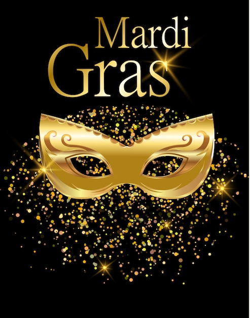 Mardi gras máscara de carnaval dourada Vetor Premium