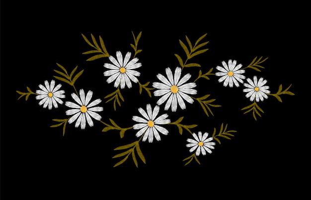 Margarida Bordado Imprimir Textura Arranjo De Flores Folhas
