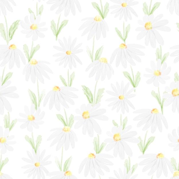 Margarida branca aquarela sem costura padrão ilustração Vetor Premium