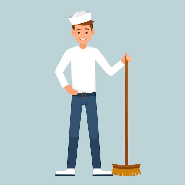 Marinheiro com uma escova de chão. Vetor Premium