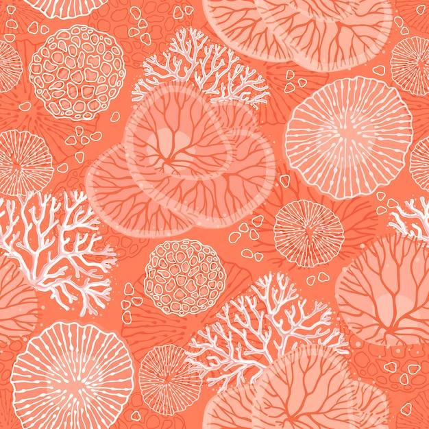 Marinho padrão sem emenda com belos corais. Vetor Premium