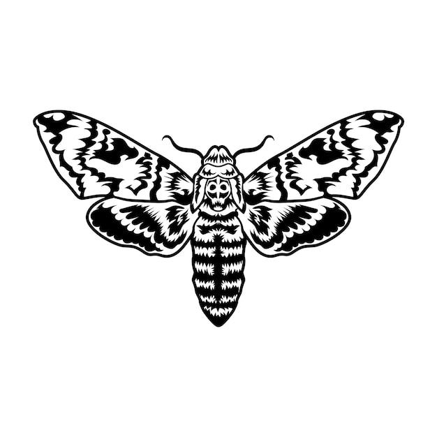 Mariposa preta retrô. ilustração de clipart Vetor grátis