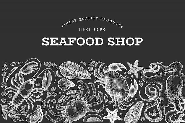Marisco e design de peixe. mão ilustrações desenhadas Vetor Premium